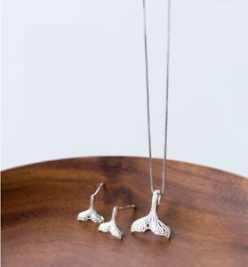925 Sterling Silver Oxidized Mermaid Tail Pendant Necklace Earrings Set Gift K63