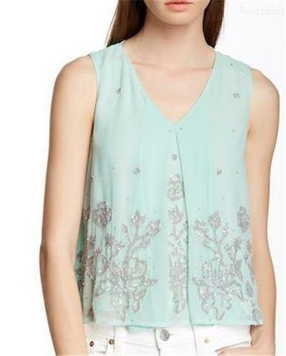 NWT FRENCH CONNECTION Tea Tree Vapour Blau Embellished Pleat Top 12 (L)