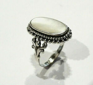 Bijou-argent-925-bague-marquise-sertie-de-nacre-taille-59-ring