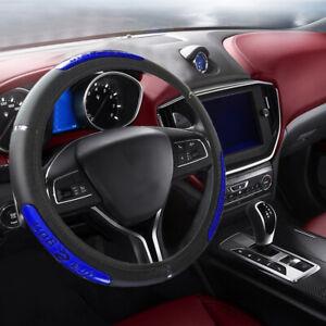 "Universal Car Steering Wheel Cover Black-Blue PU Leather 38cm 15/"""