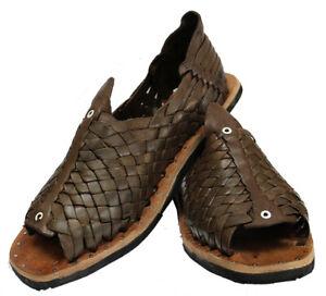 Authentic-Mexican-cien-clavos-Huaraches-Men-039-s-Brown-Leather-Tire-Sole-cuero