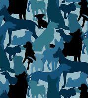 Fat Quarter Dog Breeds Blue 100% Cotton Quilting Fabric - 55cm x 50cm
