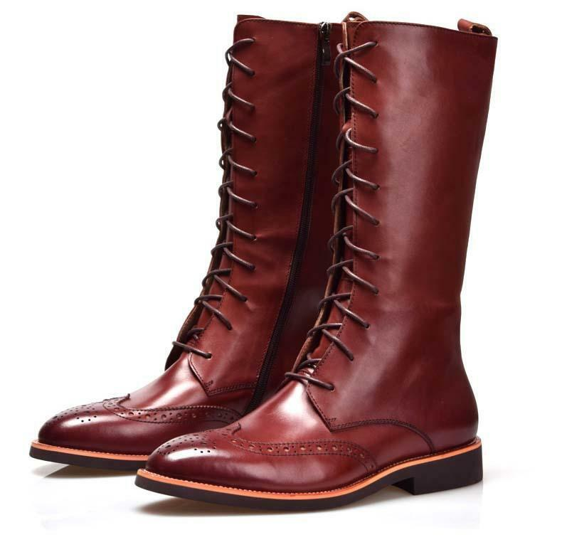 Para hombre Encaje NUEVO BROGUE Long Knee High Bota Puntera Puntiaguda Montar Alta Top Zapatos Talla