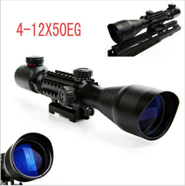 4-12X50 EG Optical Dual Rifle Scope ROT Grün Dual Optical illuminated w/ Side Rails & Mount 5ba135