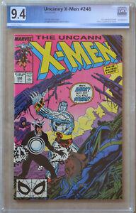 UNCANNY X-MEN #248 (1989) PGX 9.4 (NM) Like CGC - White Pages - 1st Jim Lee Art