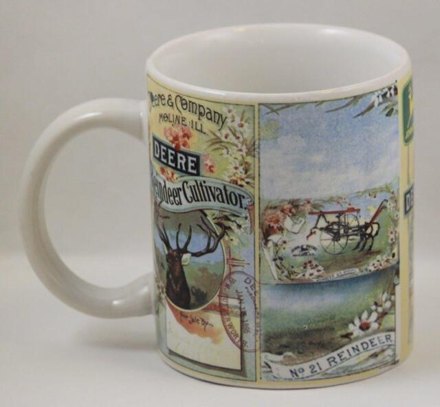 John Deere Coffee Mug Cup Reindeer Cultivator Farming Collectible