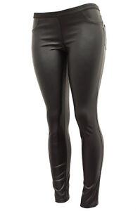 Faux-Leather-Leggings-Elastic-Waist-Skinny-Pant-Jegging-S-L