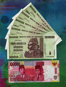 Details About 100 000 Indonesia Rupiah Idr 5 X 200 Million Zimbabwe Dollars Banknotes Unc Set