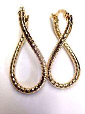 """1"""" Fine Glittering 10K Yellow Gold Diamond Cut Twisted Infinity Hoop Earrings"""