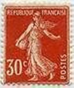 FRANCE-STAMP-TIMBRE-YVERT-ET-TELLIER-N-160-034-SEMEUSE-30C-ROUGE-034-NEUF-xx-LUXE