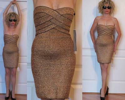 RARE GOLDEN BRONZE STRETCH SHEATH BANDAGE MINI DRESS WOW COUTURE DESIGNER S (XS)