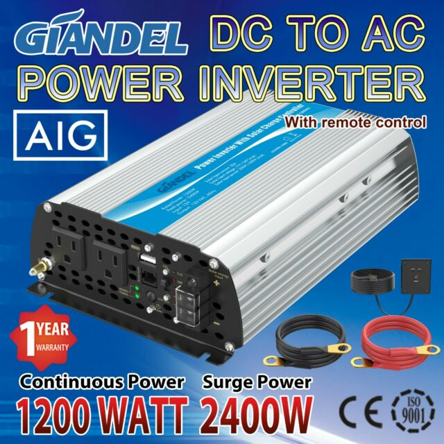 Power Inverter 1200W//2400W 24V to 110V//120V with 20A solar charge controller