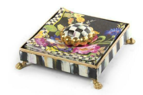 MacKenzie-Childs Black Flower Market Cocktail Napkin Holder Set