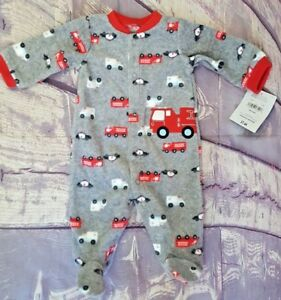 Child Of Mine By Carters Infant Boys  Fire Truck Sleeper  Size 0-3 Months