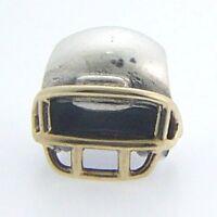 790570 Pandora Sterling Silver & 14 Karat Football Helmet Bead