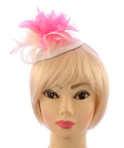 SorgfäLtige Berechnung Und Strikte Budgetierung Stirnband Für Hochzeiten Rennen Obligatorisch Elfenbein Creme Und Rosa,satin Fascinator Hut
