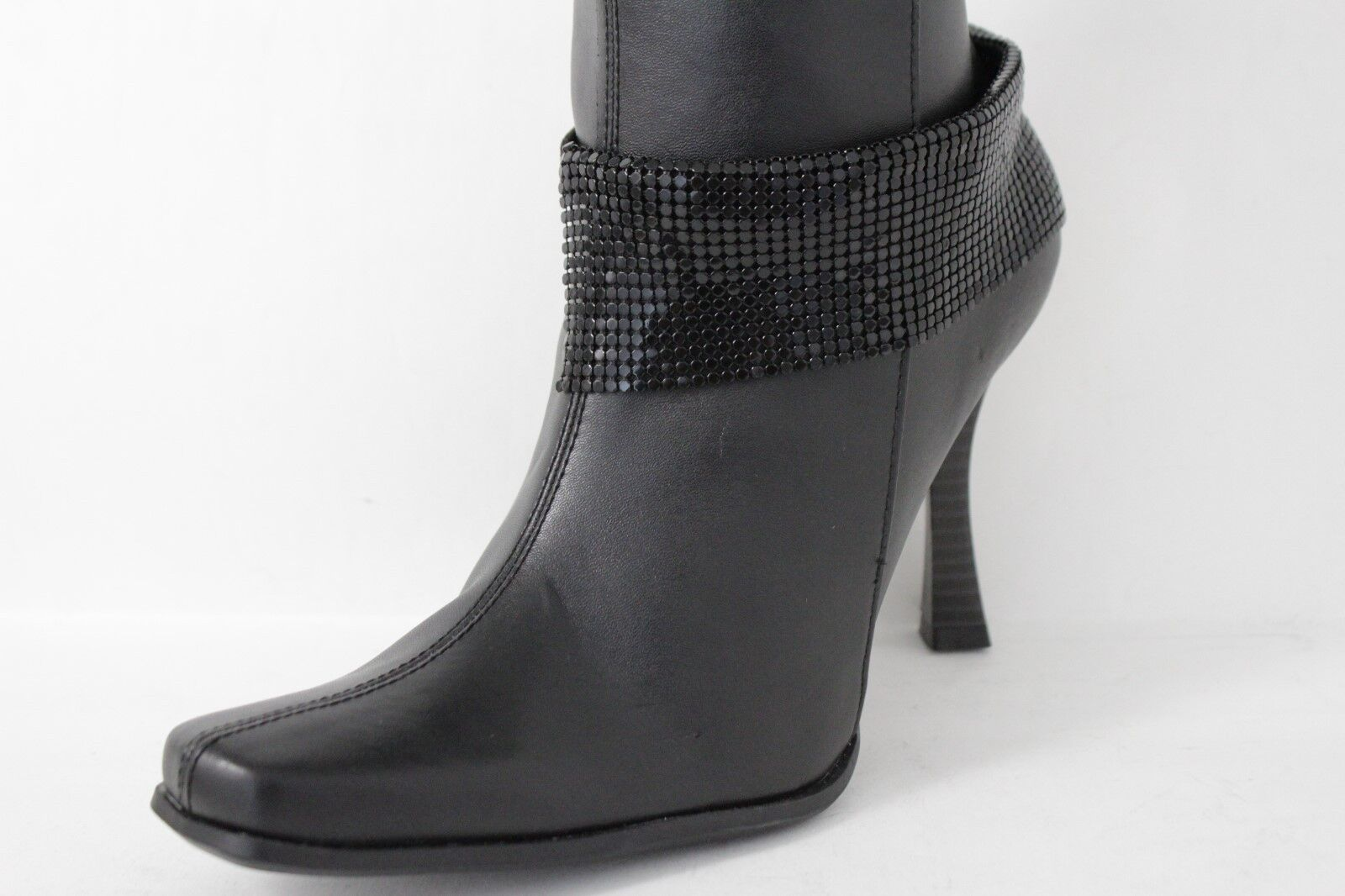 Women Fashion Boot Bracelet Wide Black Mesh Metal Chain Anklet Bling Shoe Charm