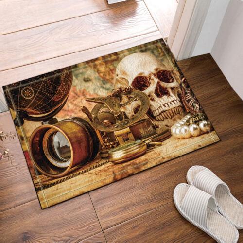 """Pirate Skull With Treasure Bathroom Rug Non-Slip Floor Door Mat Flannel 16x24/"""""""