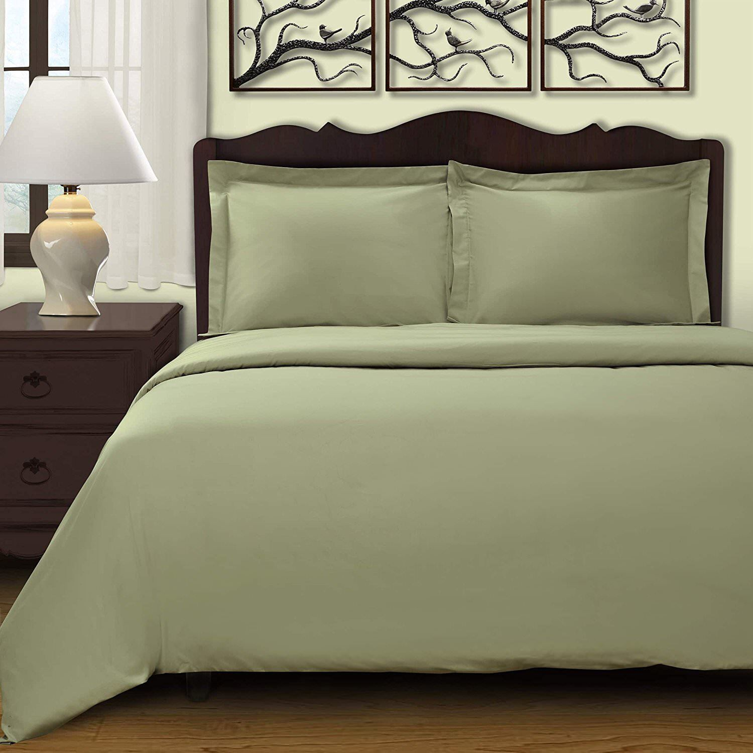 Superior 300 Thread Count Combed Cotton Sateen Duvet Cover Set Sage 3 Piece Cali