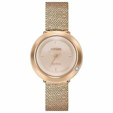 Citizen Eco-Drive Women's Ambiluna Rose Gold-Tone Bracelet 32mm Watch EM0643-50X
