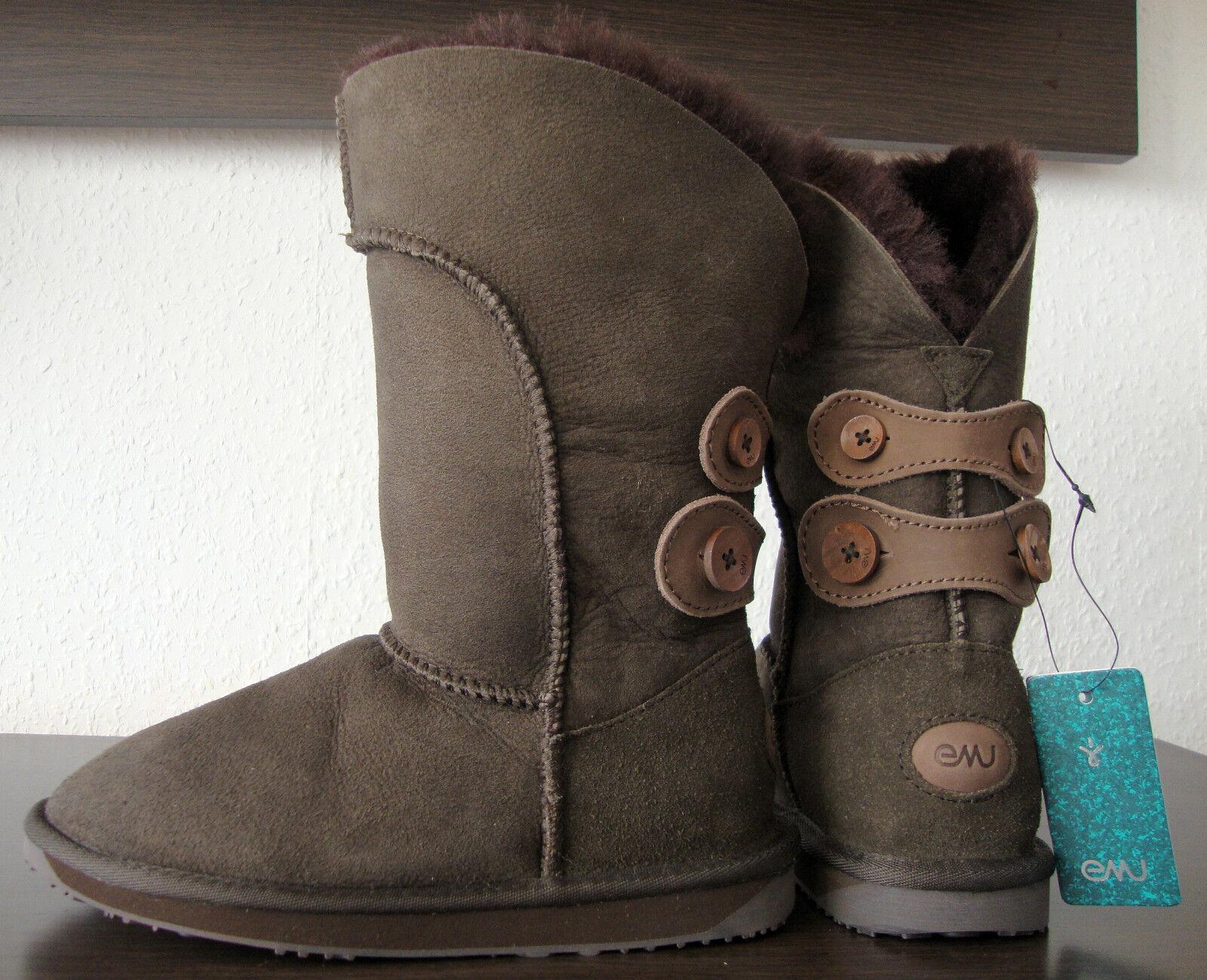 EMU Australia alba w10088 botas marrón señora botas zapatos de piel /36 nuevo