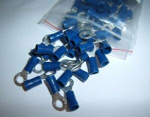 (50) Wire Ring Terminals Vinyl Blue 16-14 Gauge AWG Connectors Car Alarm Audio