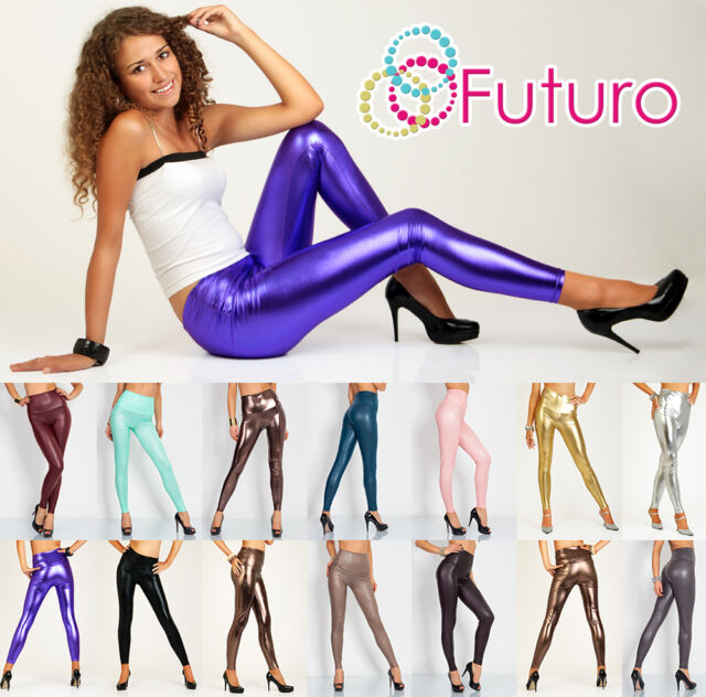 Sexy Shiny Wet Look & Mat HIGH WAIST Full Length Leggings Faux Imitation Leather