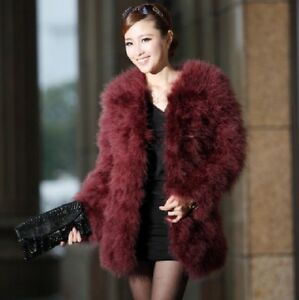 New-Real-farm-Ostrich-Feather-Fur-Turkey-fur-coat-Jacket-long-sleeve-warm