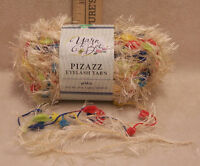 Yarn Bee Pizazz Eyelash Pebble Cream W/ Blue Green Yellow Red Polyester 49 Yards
