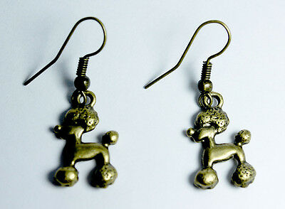 Bronze Gold Tone Poodle Dog Doggy Dangle Earrings Jewelry Gift Puppy Animal Love