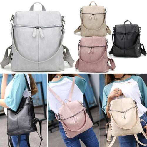 UK Women's PU Leather Backpack Anti-Theft Rucksack School Travel Satchel Bag