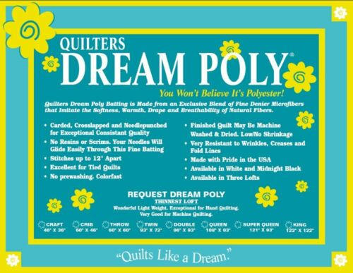 Quilters Dream Poly Request Low Loft Crib Size Quilt Batting