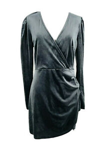 Wild-Fable-Women-039-s-Dark-Gray-Long-Sleeve-V-Neck-Velvet-Mini-Dress-Size-Small-NEW