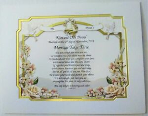 Details About Personalized Poetry Gift Marriage Takes Three On Wedding Vows Background