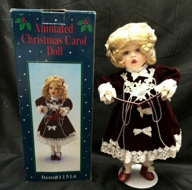 Vintage Animated Christmas Carol Doll Porcelain Musical Carolers Girl Singing Ebay