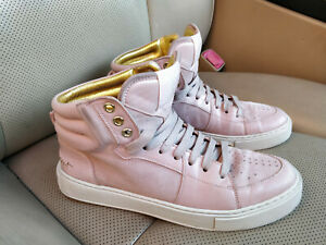 Yves-Saint-Laurent-YSL-Hi-Top-Suede-Leather-Sneakers-Shoes-Trainers-Pink-294015