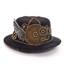 Vintage Women Steampunk Gear Wing Chain Mini Hat Hair Clip Punk Gothic Headwear