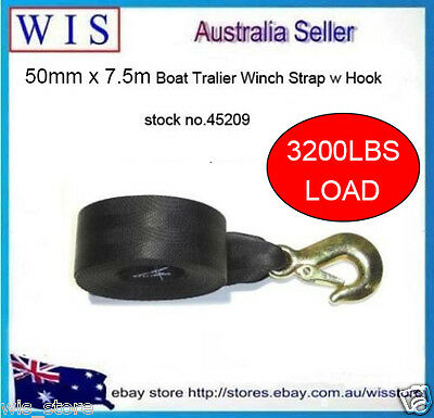 """3200lbs BOAT TRAILER REPLACEMENT WINCH STRAP 2""""(50mm) 7.5m(L) w SNAP HOOK-45209"""