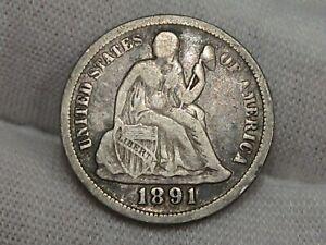 1891 Seated LIBERTY Dime.  #6