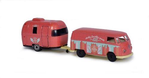 "VW T1 /& Airstream Sport /""Ice Cream/"" Pink Drivez Trailer Majorette 212053184"