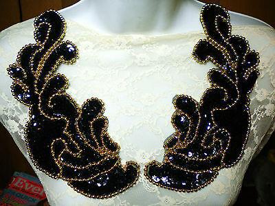 "9"" MIRROR IMAGE Bead & Sequin Applique METALLIC GOLD & BLACK"