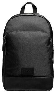 COACH-Men-039-s-Slim-Nylon-Leaher-Black-Backpack-NWT-350