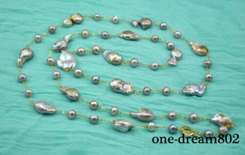 "54/"" 26mm baroque purple reborn keshi 10mm round pearl necklace"