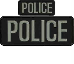 "POLICE embroidery patches 3x10 and 2x4/"" hook on back letters white"