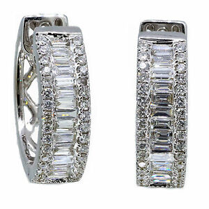14k-White-Gold-Baguette-Diamond-amp-Round-Cut-Earring-Huggie-1-64-Carat