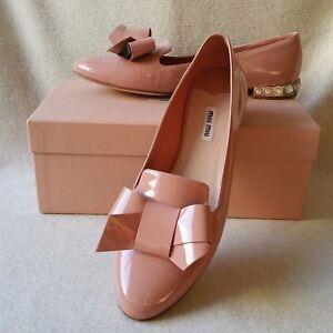 0977a5b2f73 Miu Miu 41.5 11.5 11 Crystal Jeweled Heel Bow Loafers Flats Patent ...