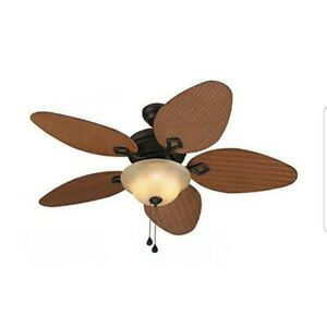 Details About Harbor Breeze Bridgeford 44 In Indoor Outdoor Ceiling Fan With Light Kit