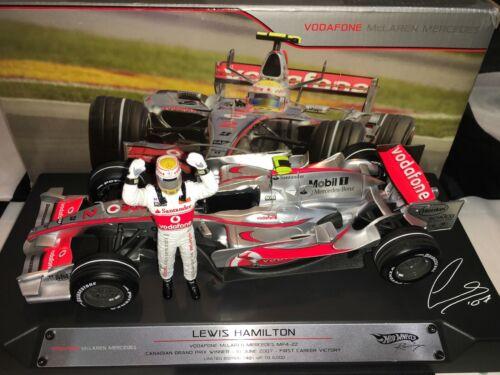 1:18 Hotwheels #M8742 Lewis Hamilton McLaren MP4//22 1st Win Canadá 2007 5,000 un.
