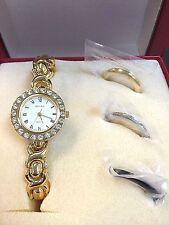 Women's BECORA Gold Bracelet Interchangeable Face Wrist Watch V4050