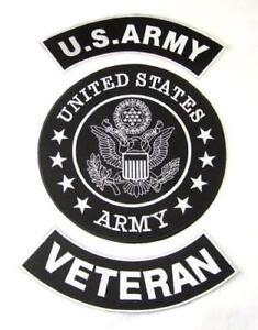 US ARMY VETERAN 3 PATCHES SET COMBAT COLORS FOR BIKER MOTORCYCLE VEST JACKET
